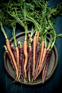 purple and orange carrots